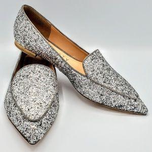 Silver Glitter Flats NWOT
